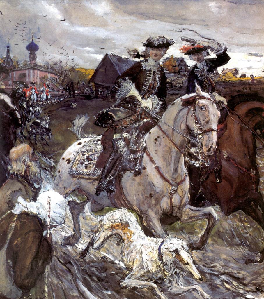 Выезд императора Петра II и цесаревны Елизаветы Петровны на охоту.jpg